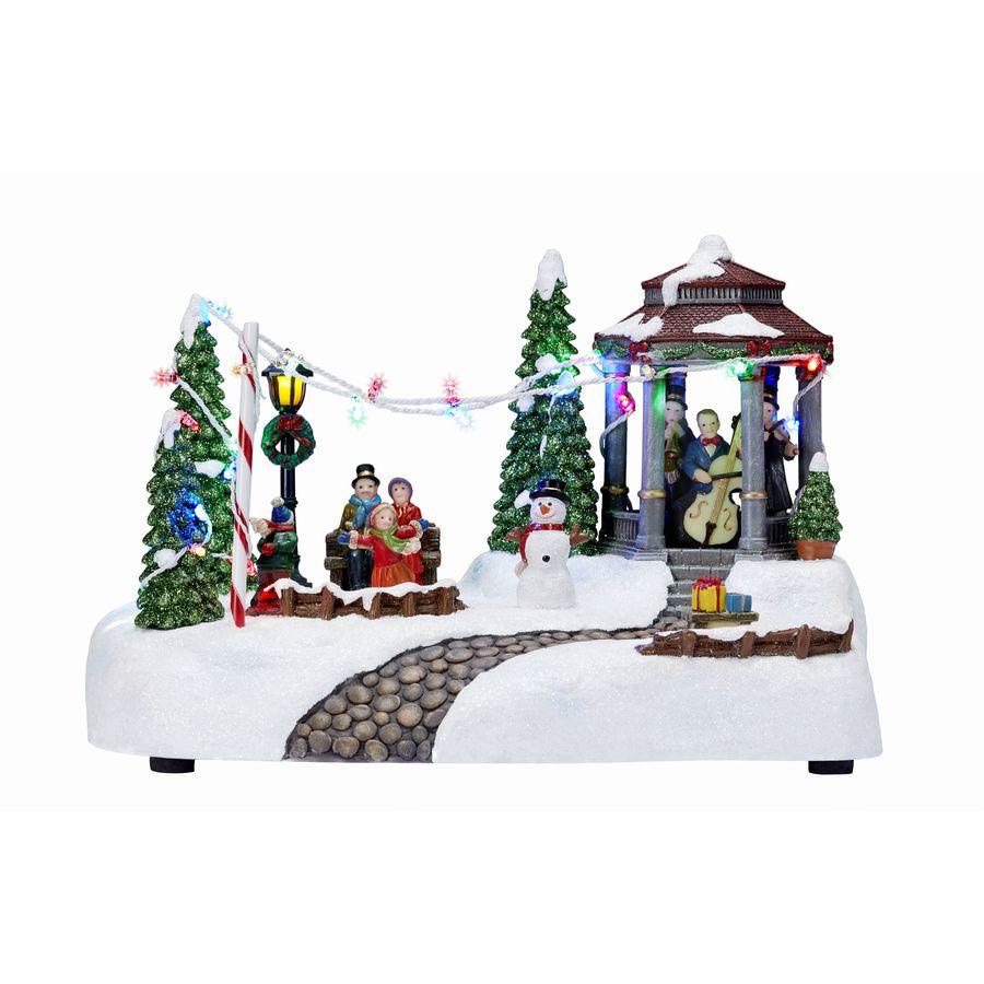 Carole Towne Snowmobile Slider Lighted Musical Village Scene
