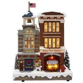 carole towne ct bates fire station lighted musical village scene - Lowes Christmas Village