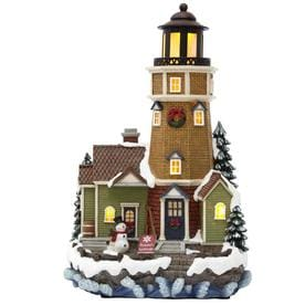 carole towne peckhams lighthouse lighted musical village scene - Lowes Christmas Village