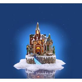 holiday living animated church scene lighted musical village scene - Lowes Christmas Village
