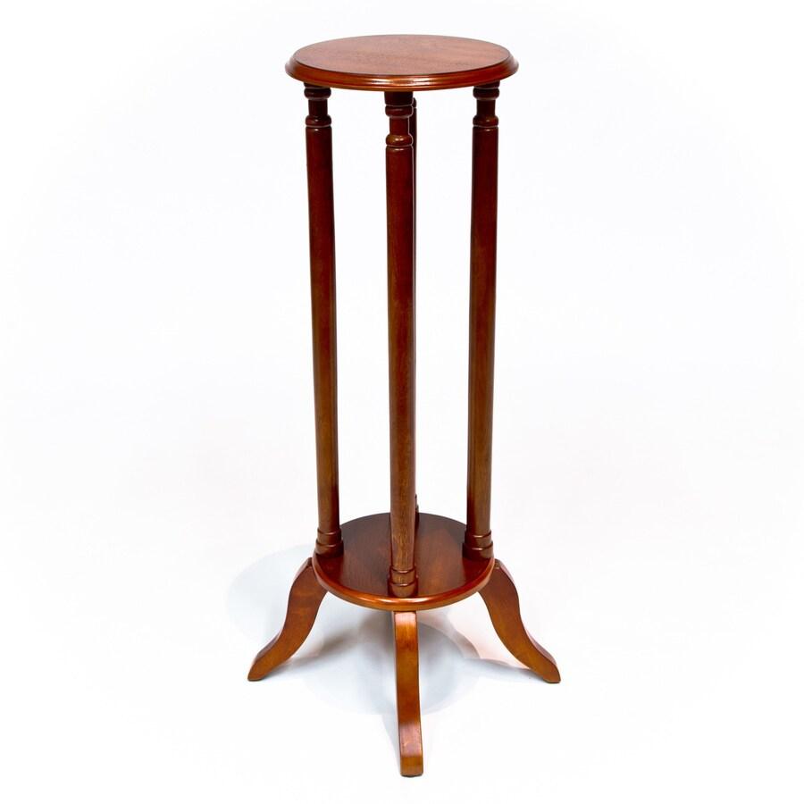Cherry Wood Veneer Round End Table