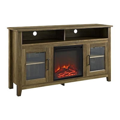 Astounding Walker Edison Highboy Rustic Oak Fireplace Tv Stand At Lowes Com Download Free Architecture Designs Estepponolmadebymaigaardcom