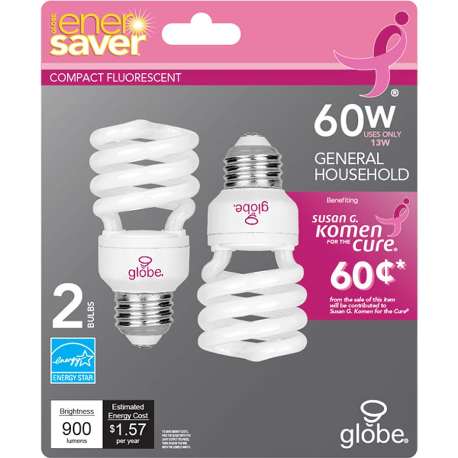 Globe 2-Pack 60W Equivalent Soft White CFL Decorative Light Bulbs