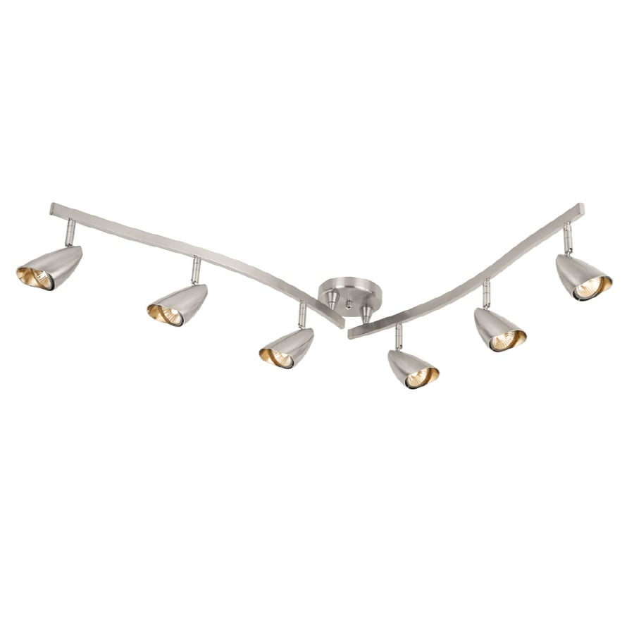 Portfolio Argon 6-Light 52.36-in Brushed Steel Dimmable Fixed Track Light Kit