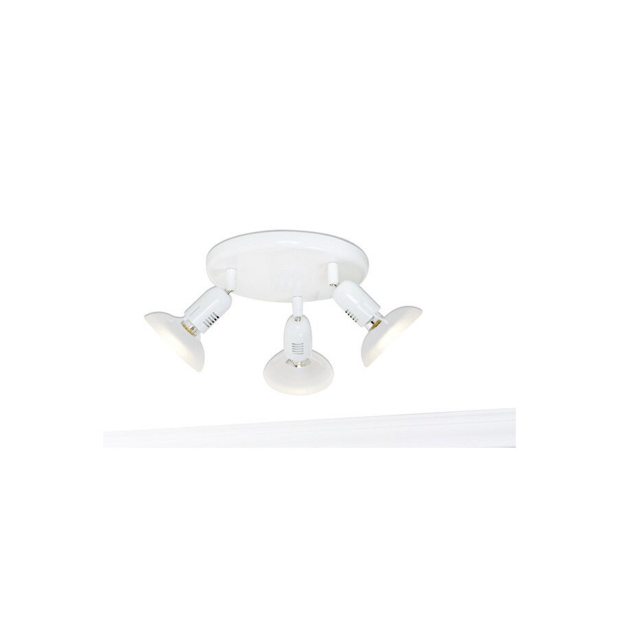 Style Selections Space 3-Light 9.84-in White Dimmable Flush-Mount Fixed Track Light Kit