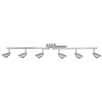 Grayson 6 Light 52 36 In Brushed Steel Dimmable Standard Linear Track Lighting Kit