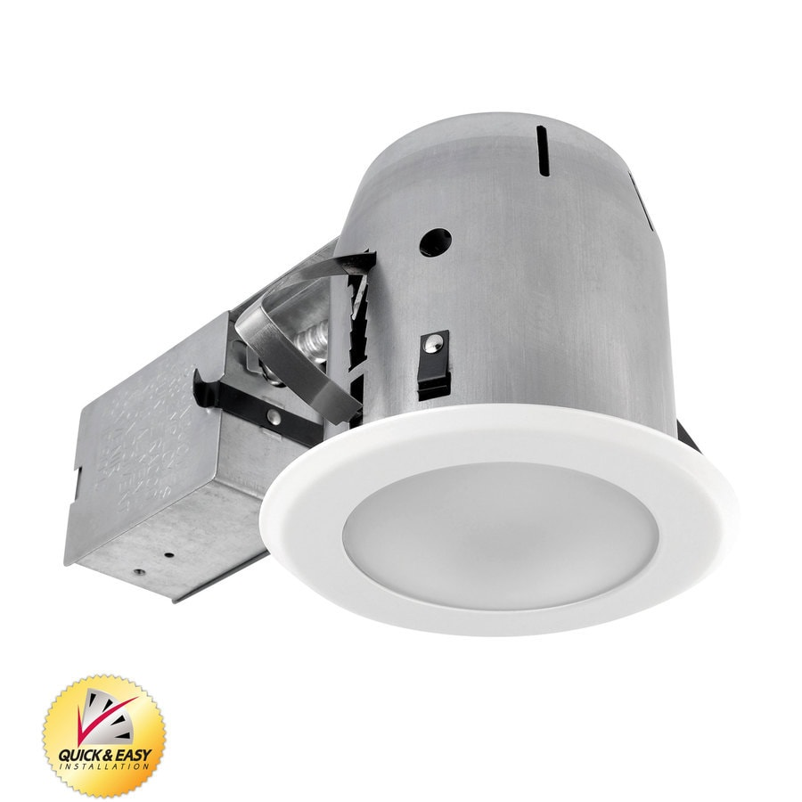 Utilitech White with Frosted Glass Remodel Recessed Light Kit (Fits Opening: 5-in)