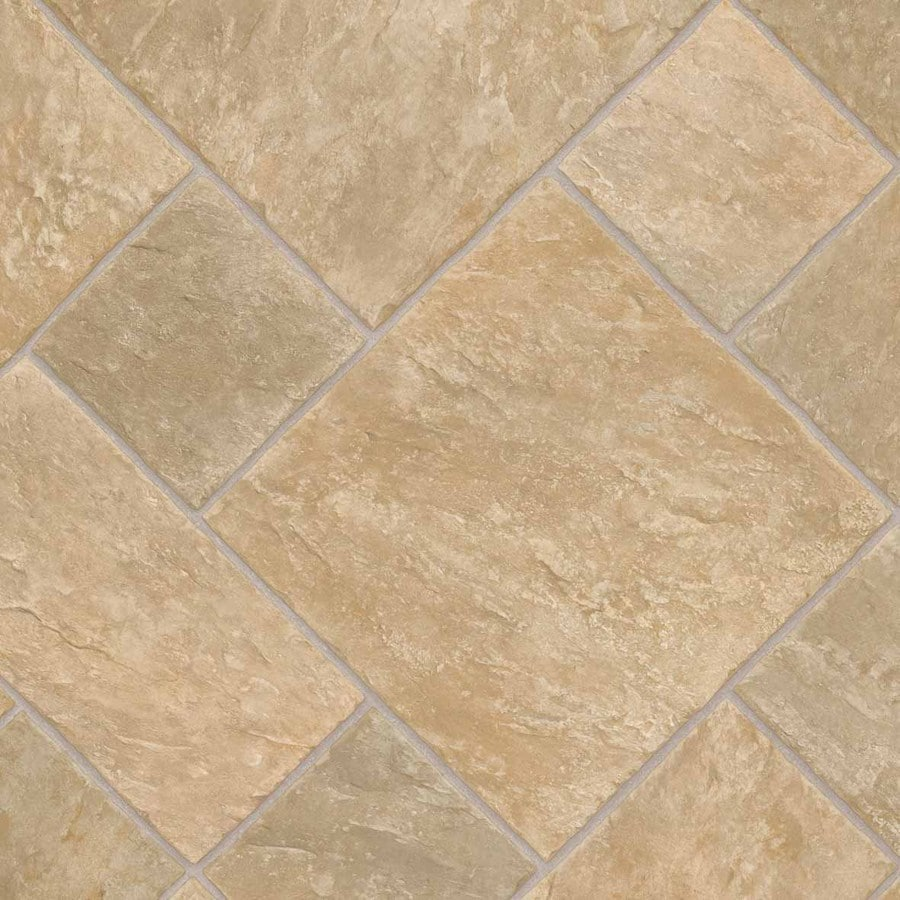 IVC Noble 12-ft W Venturi Cream 532 Tile Low-Gloss Finish Sheet Vinyl