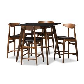 Baxton Studio Flora Black Dining Set With Table