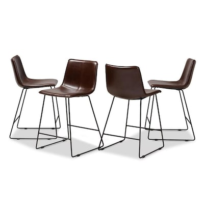 Tremendous Baxton Studio Carvell 4 Pc Bar Stool Set Brown At Lowes Com Cjindustries Chair Design For Home Cjindustriesco