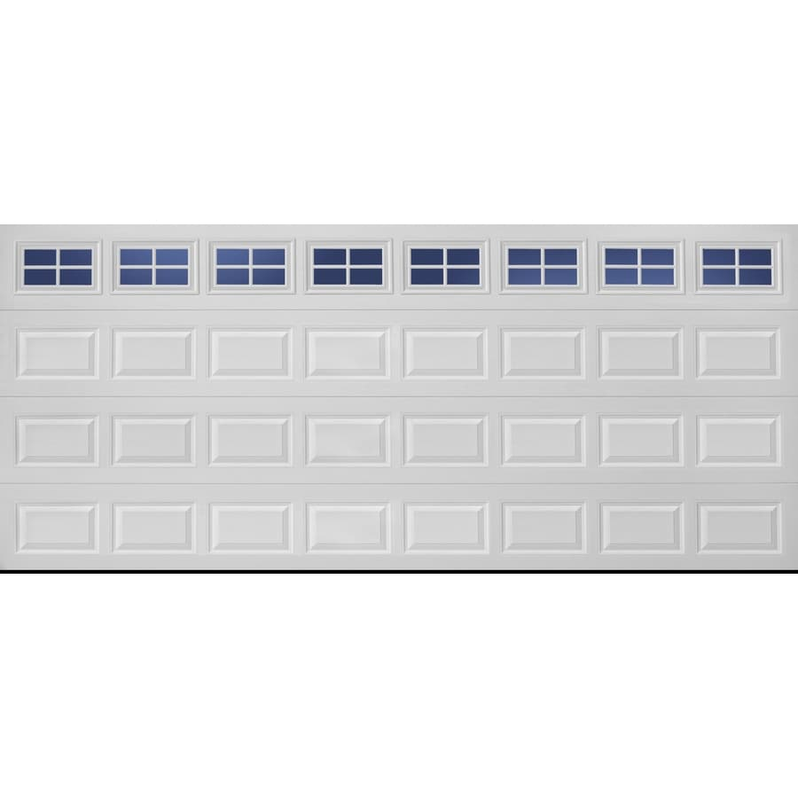 Pella Traditional Series 192-in x 84-in Insulated White Double Garage Door with Windows