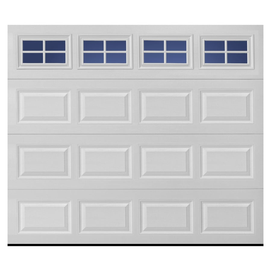 Shop pella traditional series 96 in x 84 in white garage for Garage doors