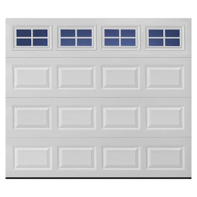 Traditional 96 In X 84 White Single Garage Door With Windows