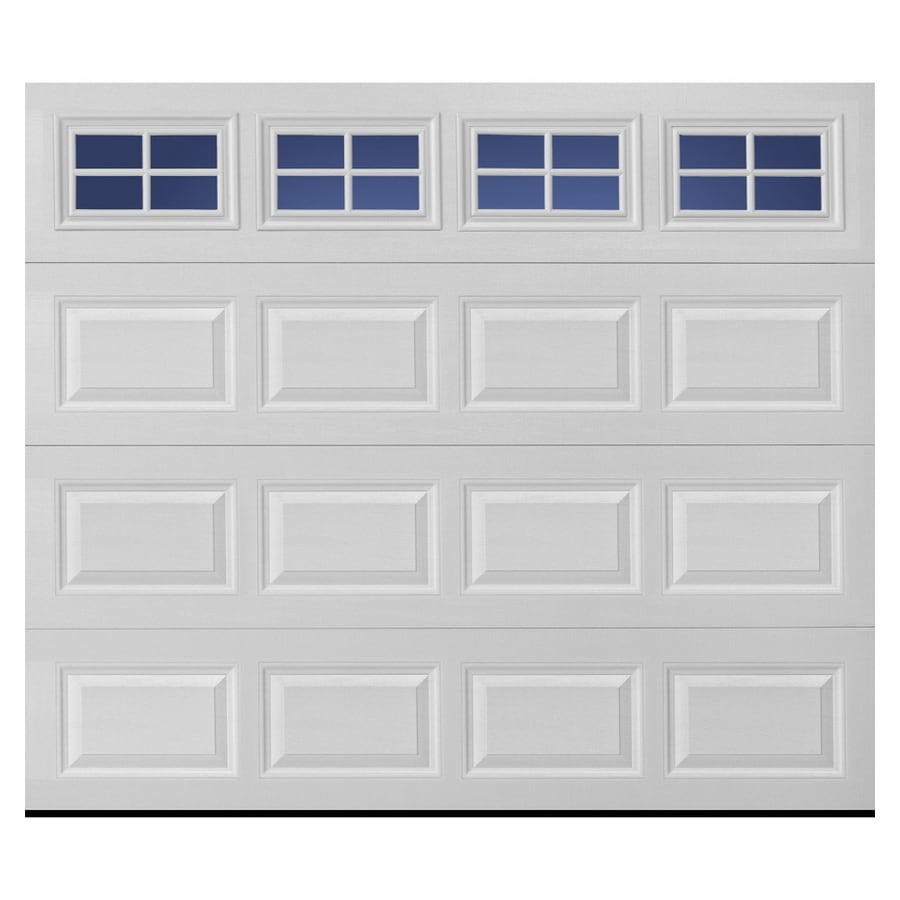 Pella Traditional Series 108-in x 84-in White Single Garage Door with Windows