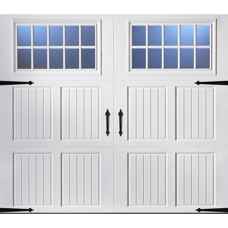 Shop pella carriage house 96 in x 84 in insulated white for Location of doors and windows