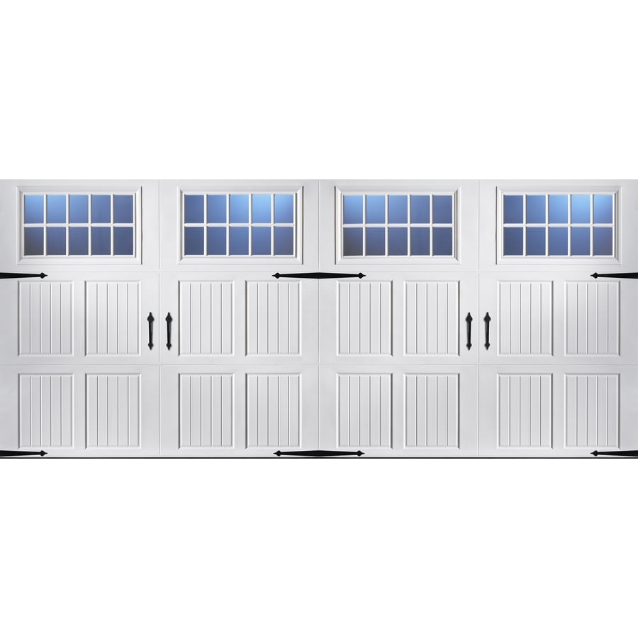 Pella Carriage House Series 192-in x 84-in Insulated White Double Garage Door Windows