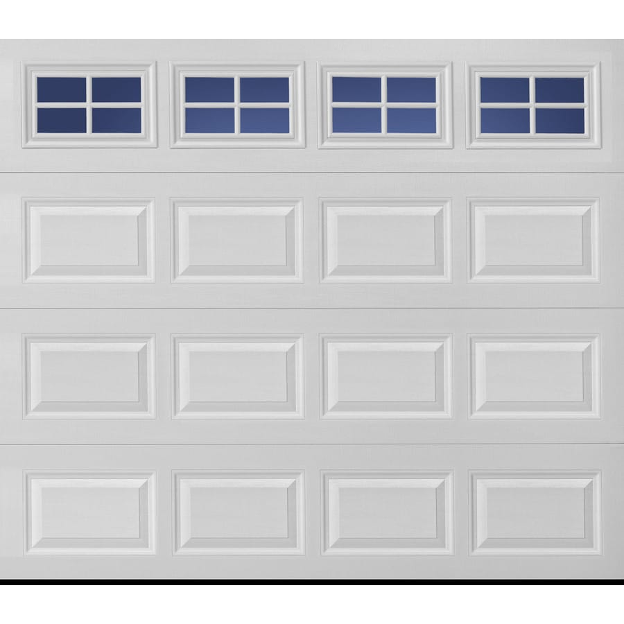 Pella Traditional 96 In X 84 In Insulated White Single Garage Door With  Windows