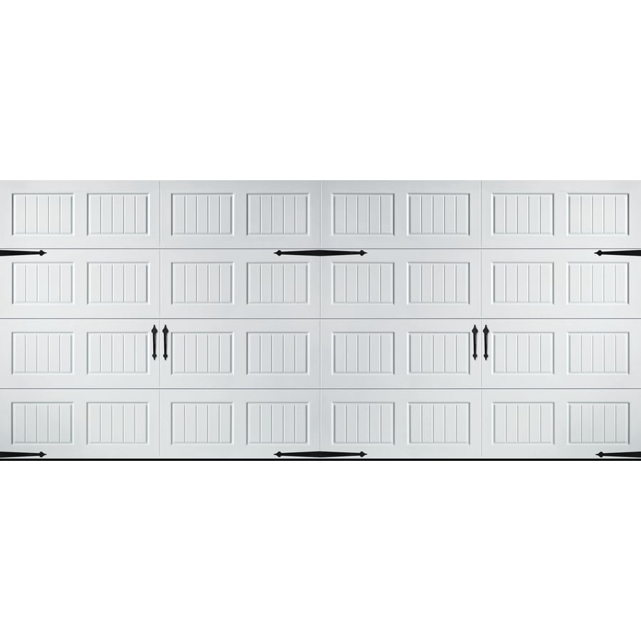 Pella Carriage House Series 192-in x 84-in White Double Garage Door