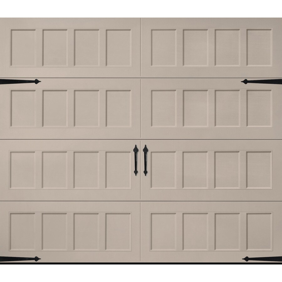 Pella Carriage House Series 96-in x 84-in Insulated Sandtone Single Garage Door