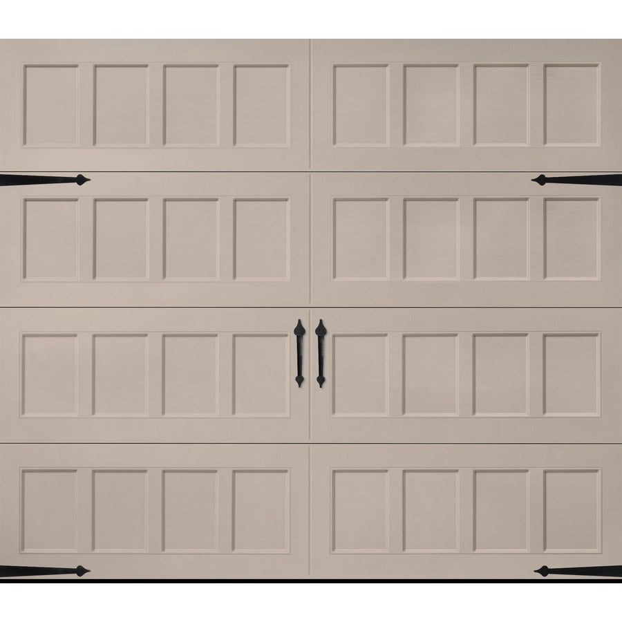 Pella Carriage House Series 108-in x 84-in Insulated Sandtone Single Garage Door