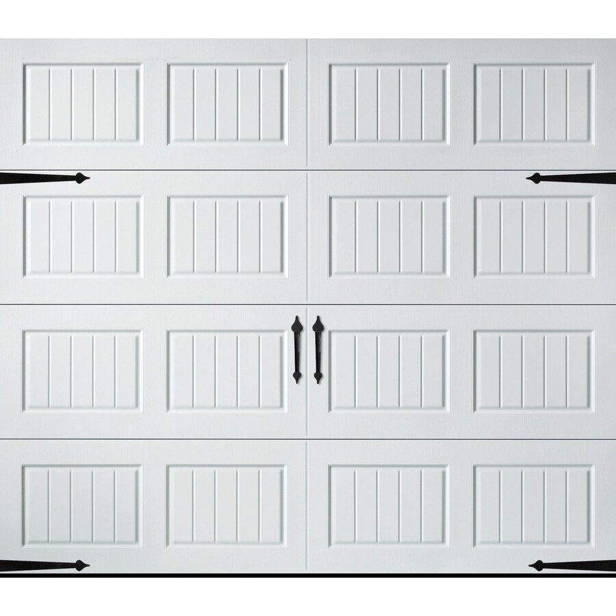 Shop pella carriage house series 96 in x 84 in insulated for Carriage style garage doors lowes