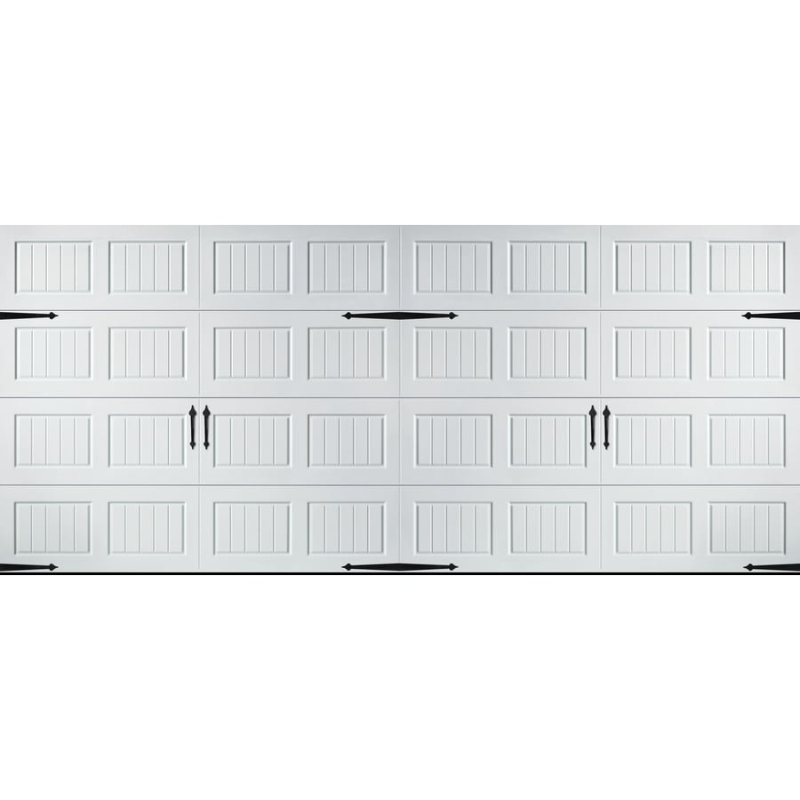 Shop pella carriage house 192 in x 84 in insulated white for Carriage style garage doors lowes