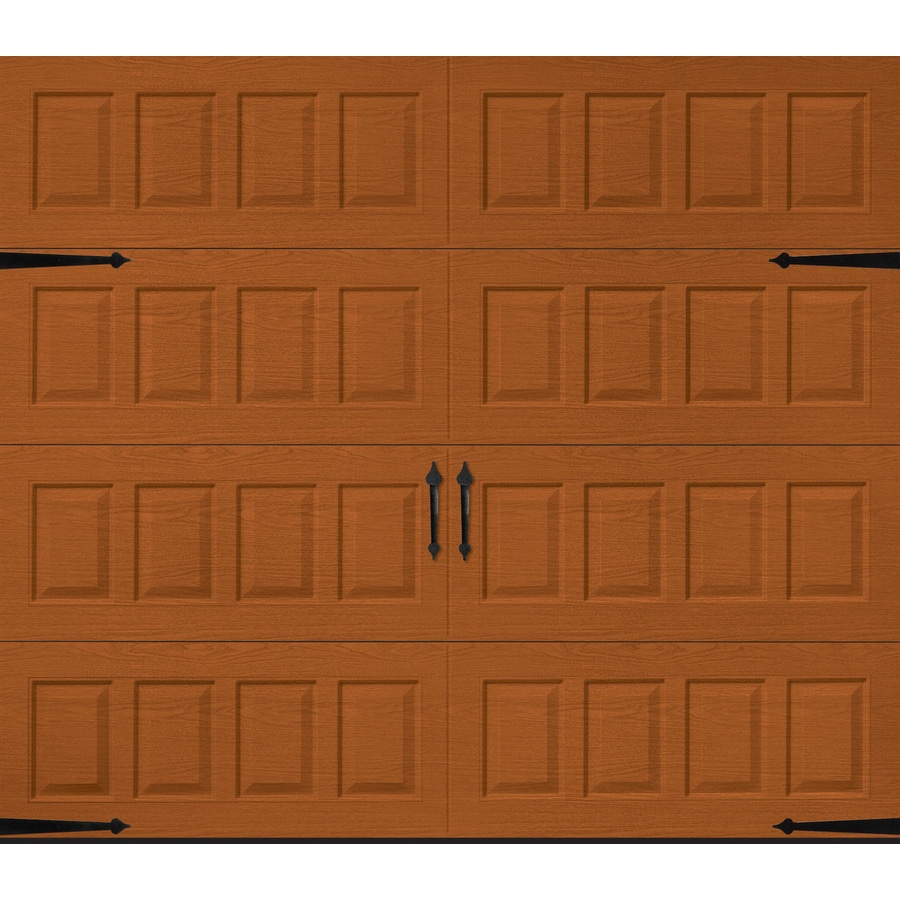 Shop pella carriage house 108 in x 84 in insulated golden for Carriage style garage doors lowes