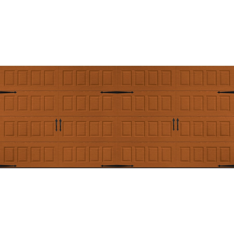 Pella Carriage House 192-in x 84-in Insulated Golden Oak Double Garage Door
