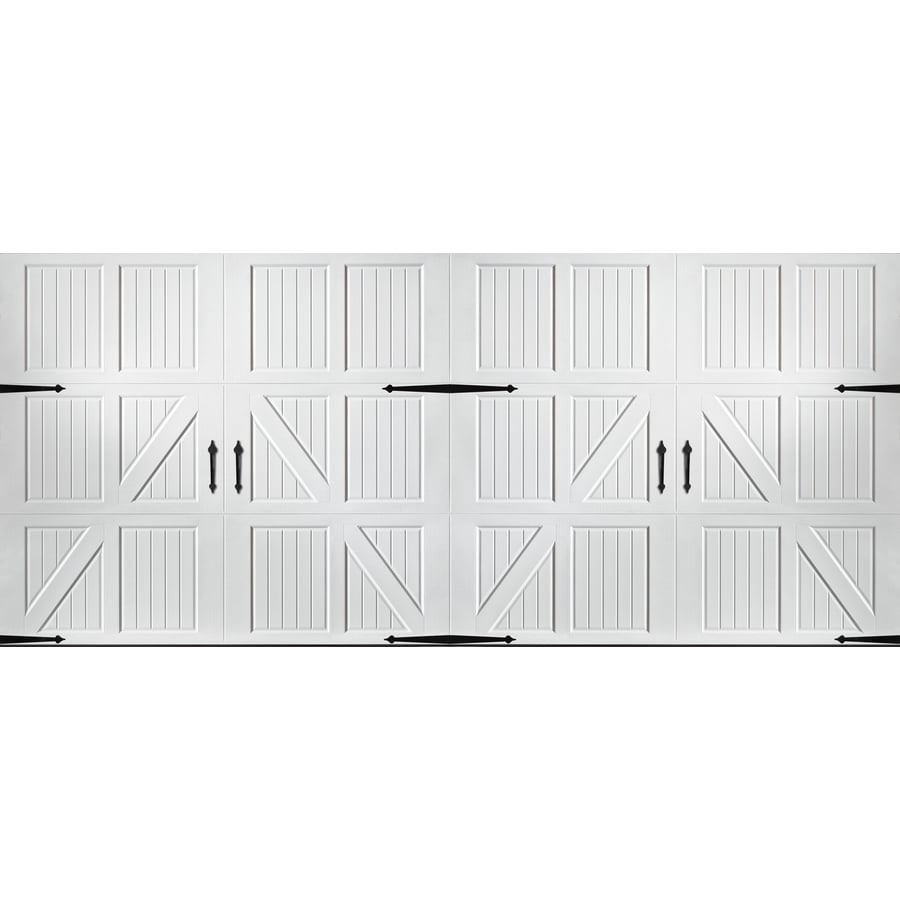 Shop pella carriage house series 192 in x 84 in white for Carriage style garage doors lowes