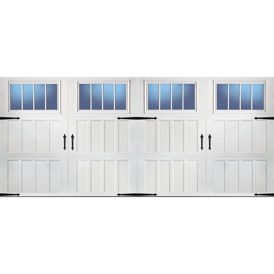 lowes pella windows double hung pella carriage house 192in 84in insulated white double garage door with shop