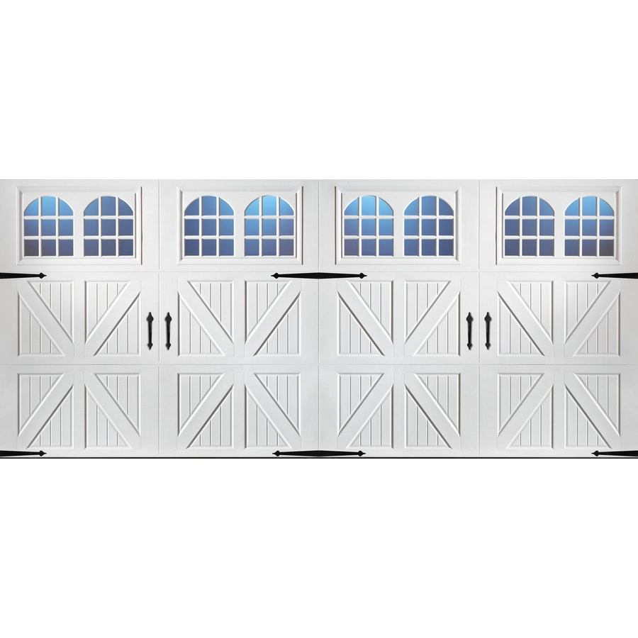 Pella Carriage House Series 192-in x 84-in Insulated White Double Garage Door with Windows