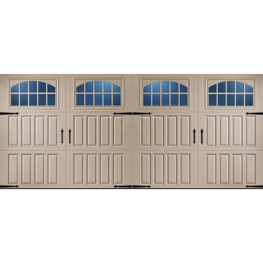 Pella Carriage House 192-in x 84-in Insulated Sandtone Double Garage Door with Windows