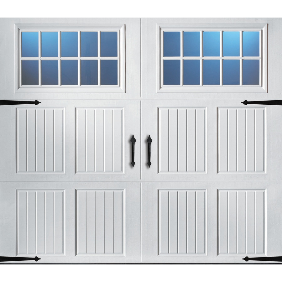 Pella Carriage House 96-in x 84-in Insulated White Single Garage Door with Windows