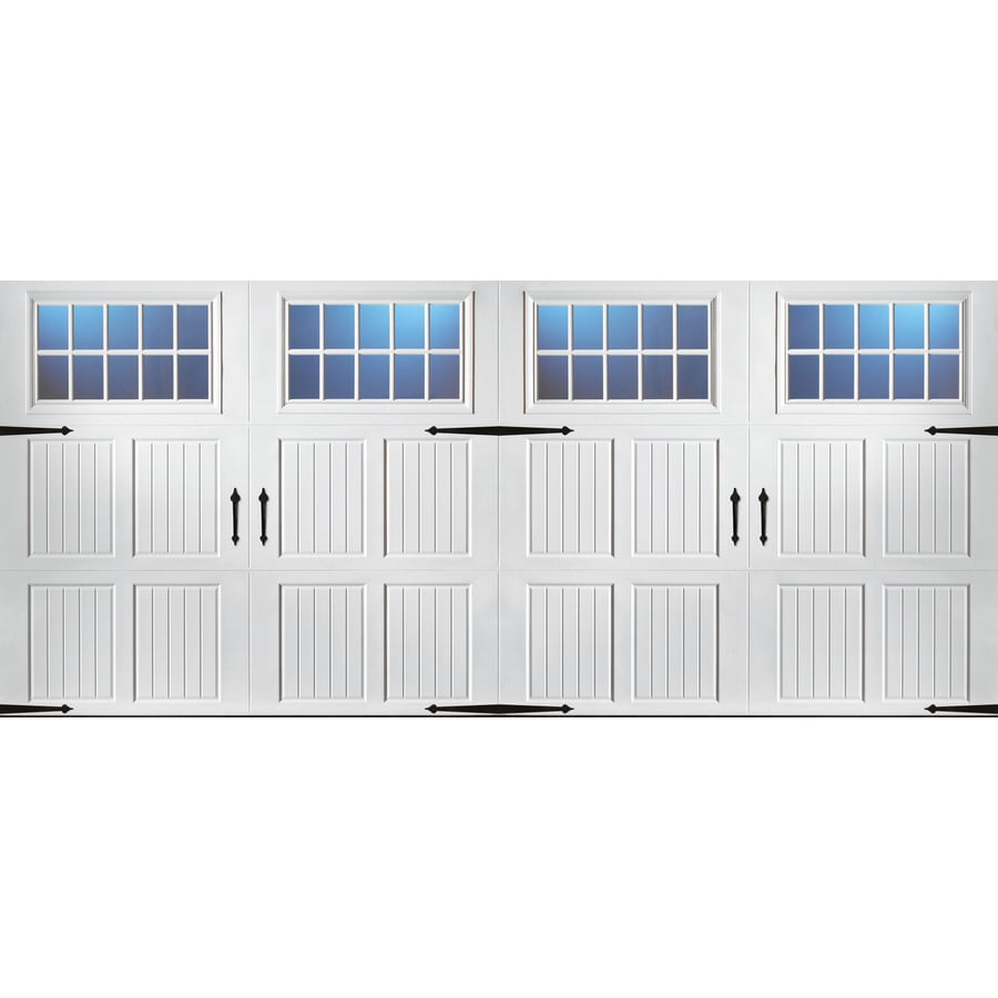 Pella Carriage House 192-in x 84-in Insulated White Double Garage Door with Windows