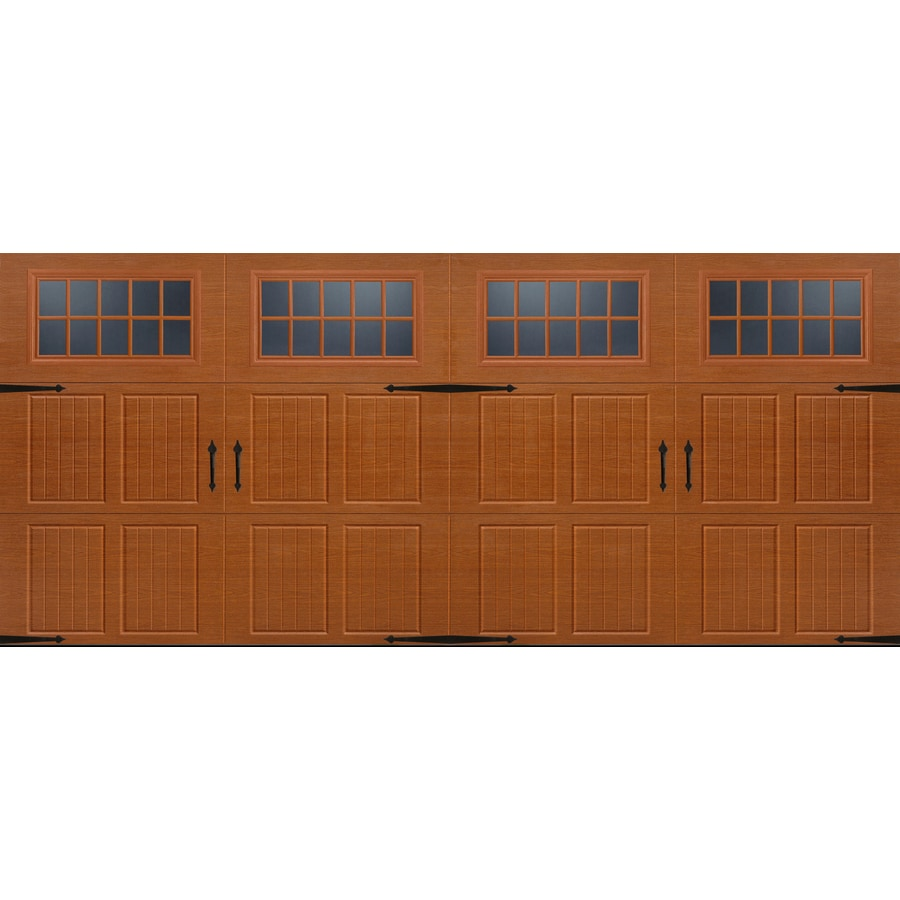 Shop pella carriage house series 192 in x 84 in insulated for Carriage style garage doors lowes