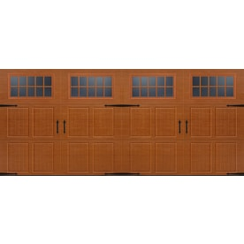 Pella Carriage House 192 In X 84 In Insulated Golden Oak Double Garage Door