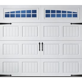 lowes pella windows garden window pella carriage house 96in 84in insulated white single garage door with windows doors at lowescom