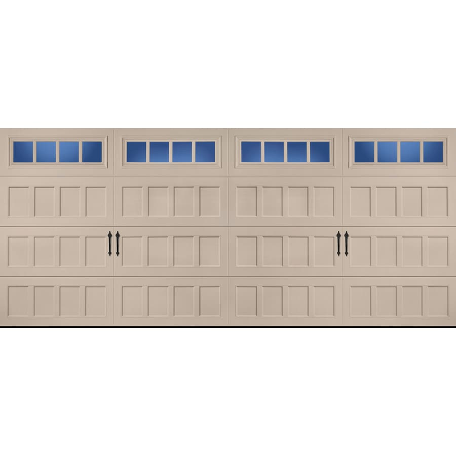 Pella Carriage House Series 192-in x 84-in Insulated Sandtone Double Garage Door with Windows