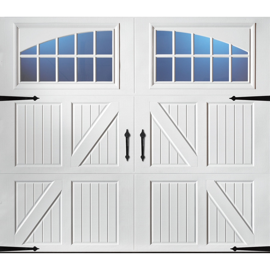 Shop pella carriage house 96 in x 84 in white single for Carriage style garage doors lowes