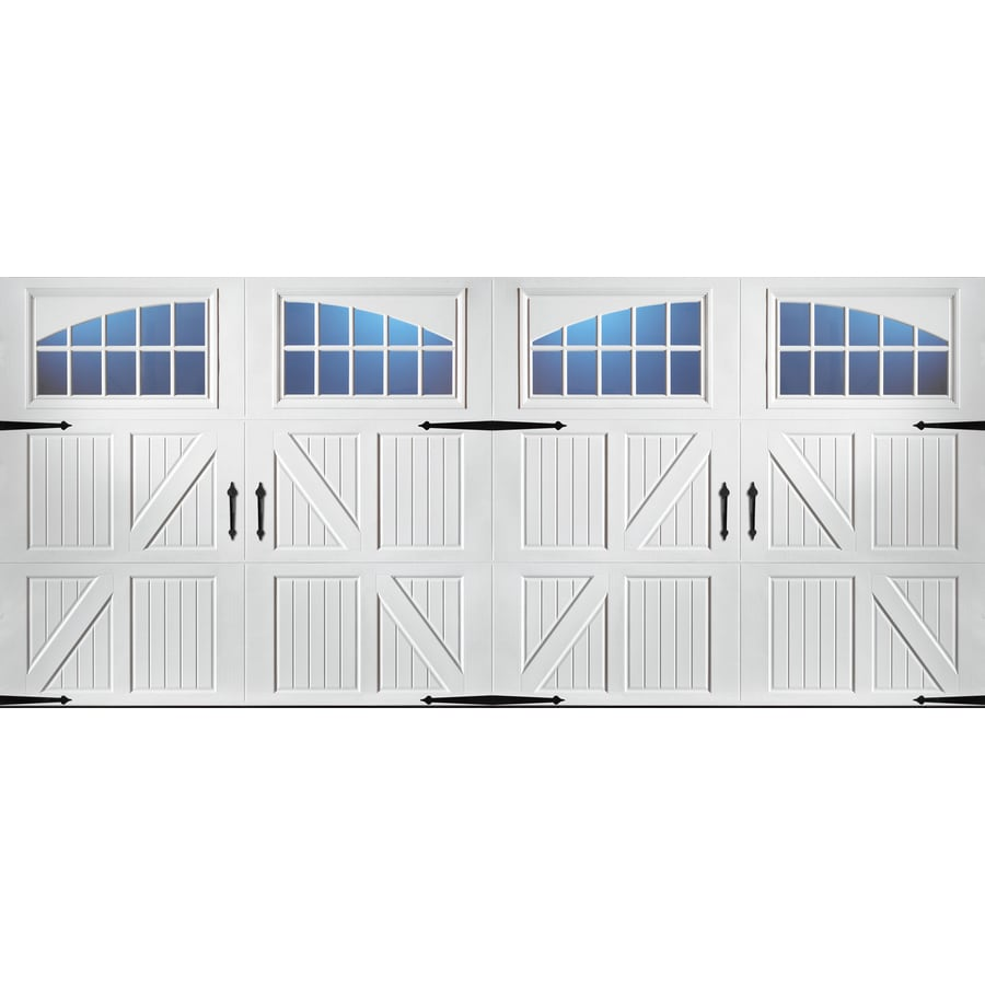 Shop pella carriage house 192 in x 84 in white double for Carriage style garage doors lowes