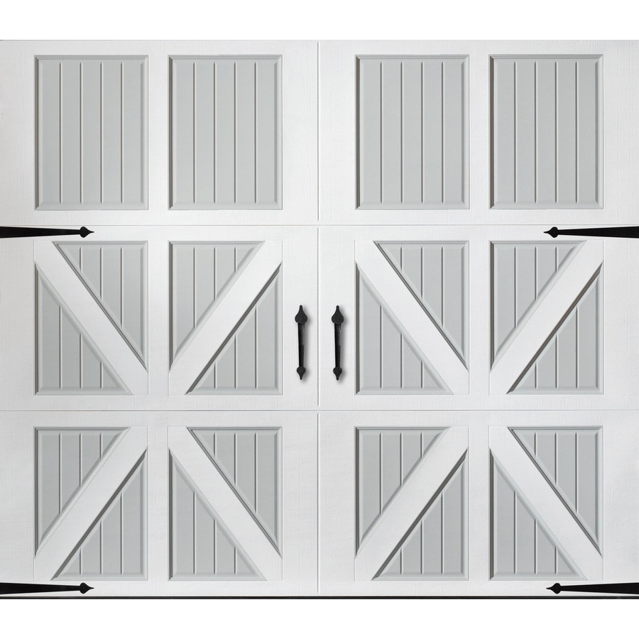 Pella Series 96-in x 84-in Insulated True White-Gray Garage Door