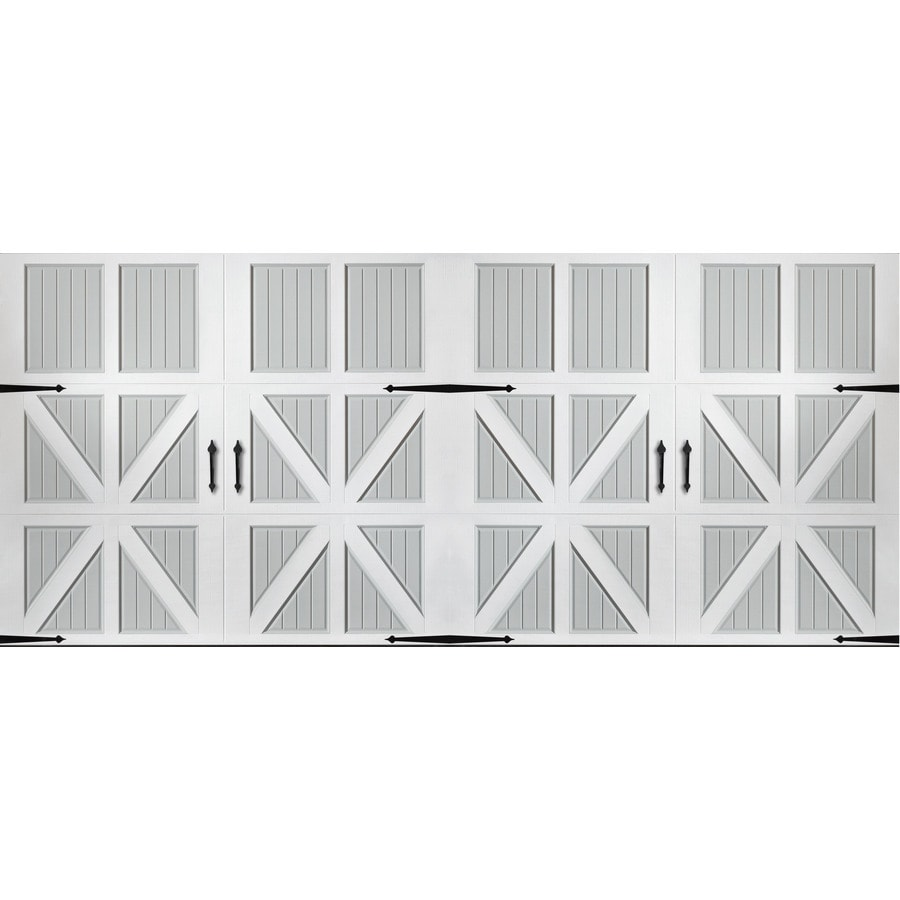 Pella Series 192-in x 84-in Insulated True White-Gray Double Garage Door