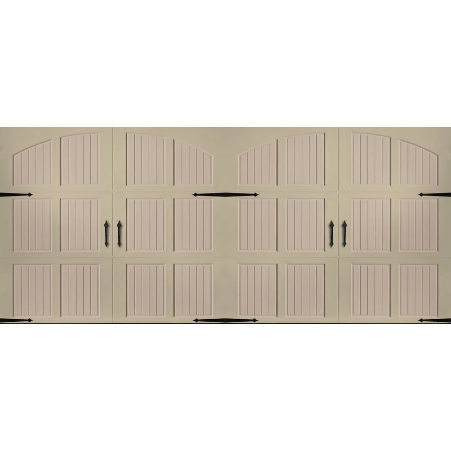 Pella Series 192-in x 84-in Insulated Wicker Tan-Sandtone Double Garage Door