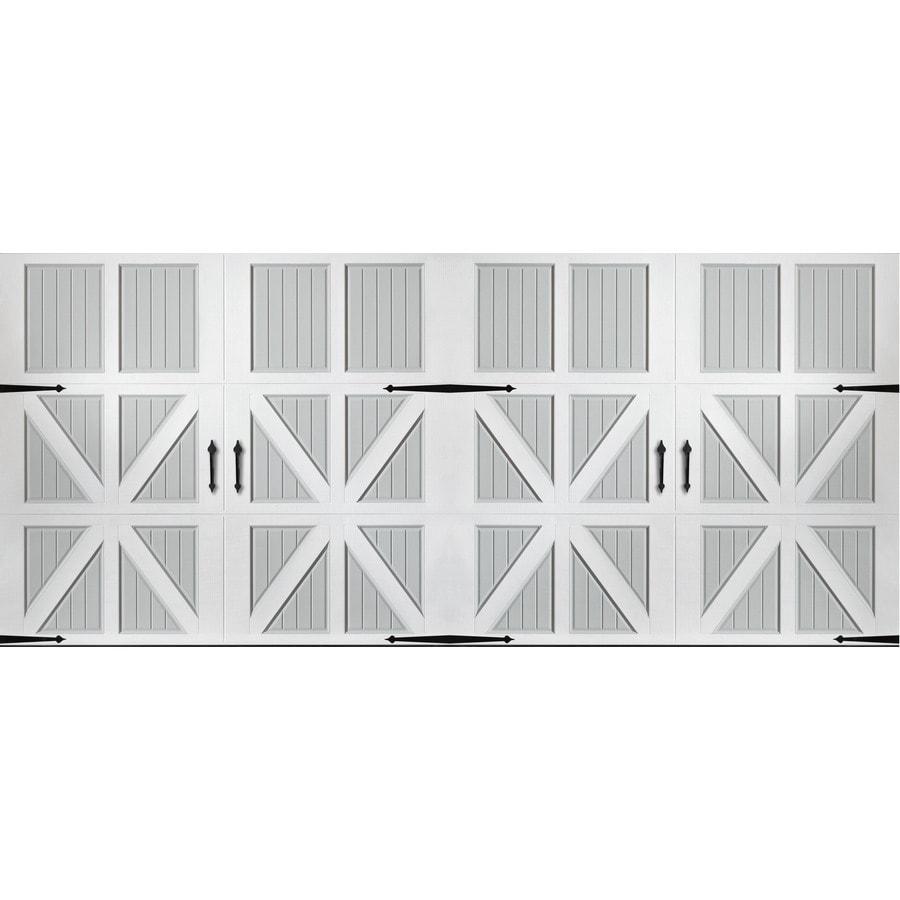 Pella 192-in x 84-in Insulated True White-Gray Double Garage Door