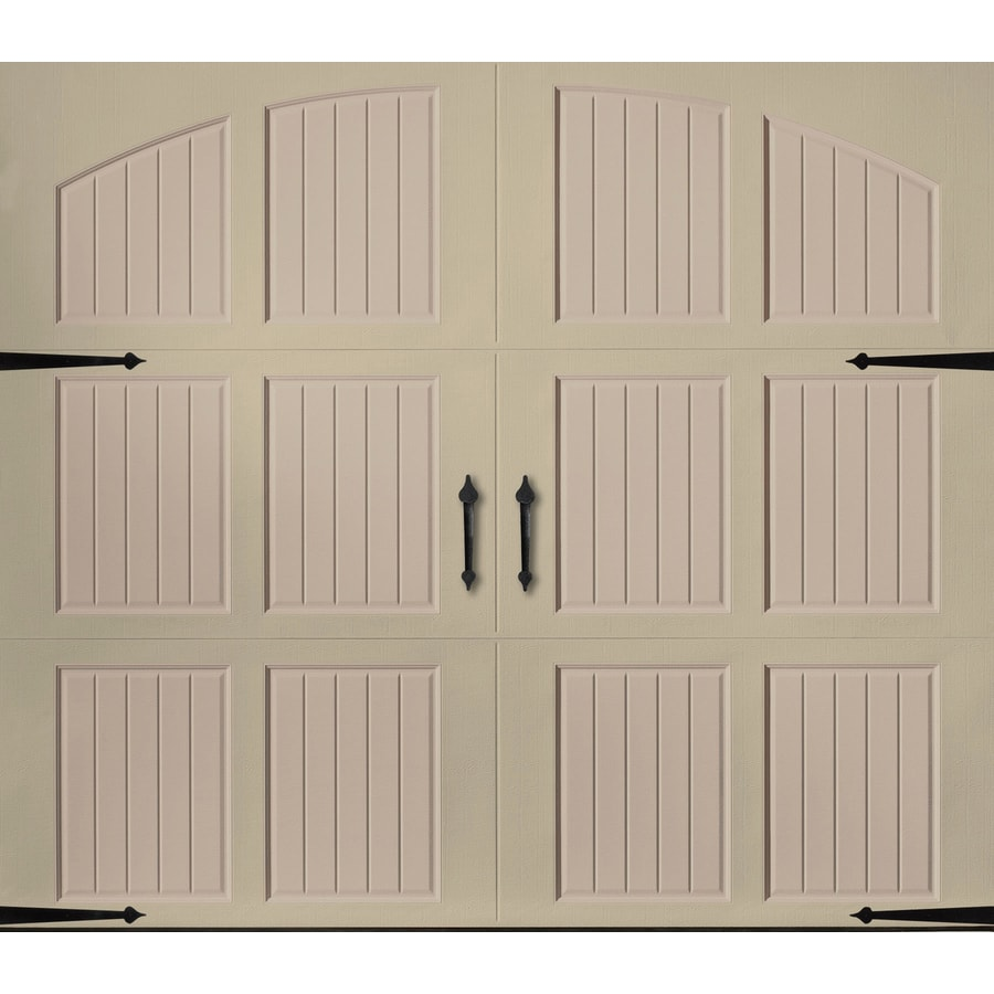 Pella 96-in x 84-in Insulated Wicker Tan-Sandtone Single Garage Door