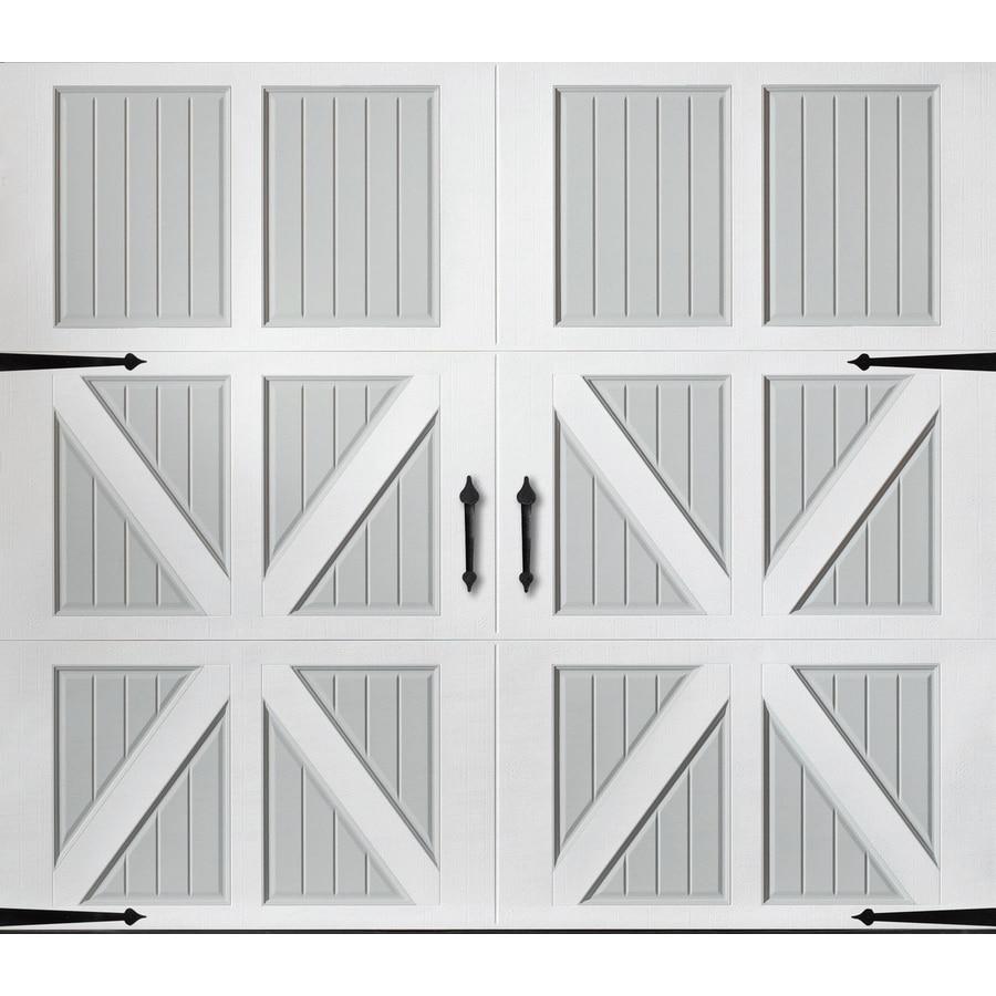 Pella Series 108-in x 84-in Insulated True White-Gray Garage Door