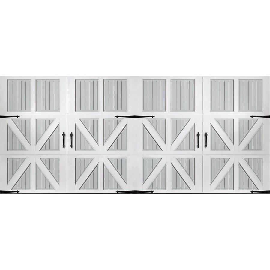 Pella Series 192-in x 84-in Insulated True White-Gray Double Garage Door