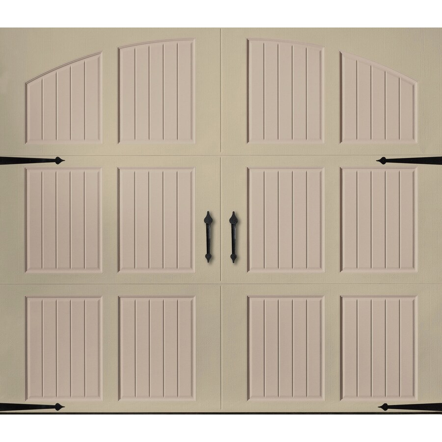 Pella 108-in x 84-in Insulated Wicker Tan-Sandtone Single Garage Door