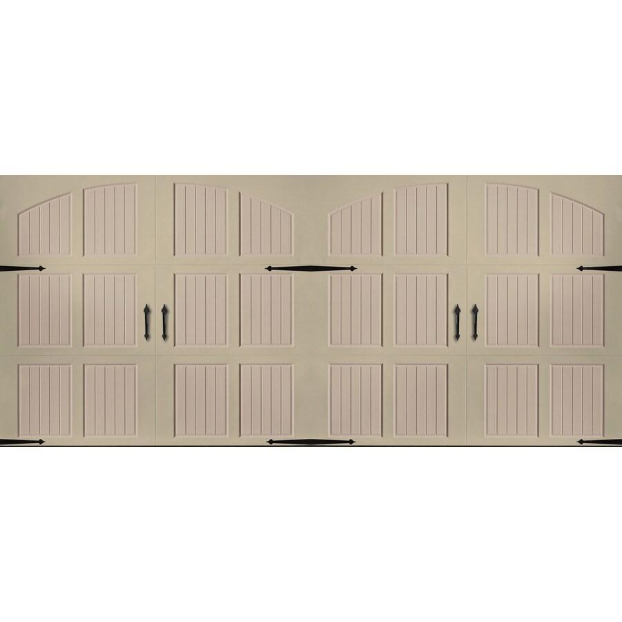 Pella Series 192-in x 84-in Insulated Wicker Tan-Sandtone Double Garage Door