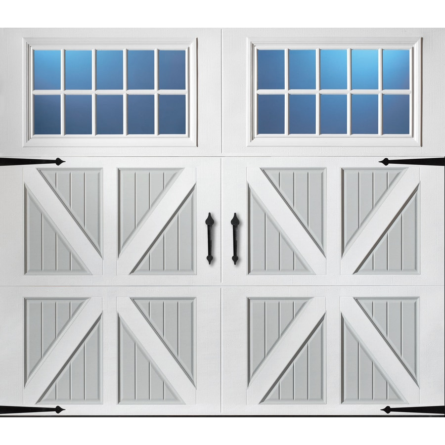 Pella Series 96-in x 84-in Insulated True White-Gray Garage Door Windows